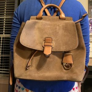Michael kors faux suede backpack.